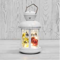Декоративный фонарь с шариками 12х12х20,6 см, белый корпус, теплый белый цвет свечения NEON-NIGHT